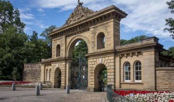 Entrance to Corporation Park on Preston New Road in Blackburn, Lancashire