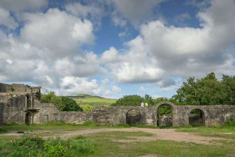 Gateway to Liverpool Castle and view of Rivington Pike and Winter Hill