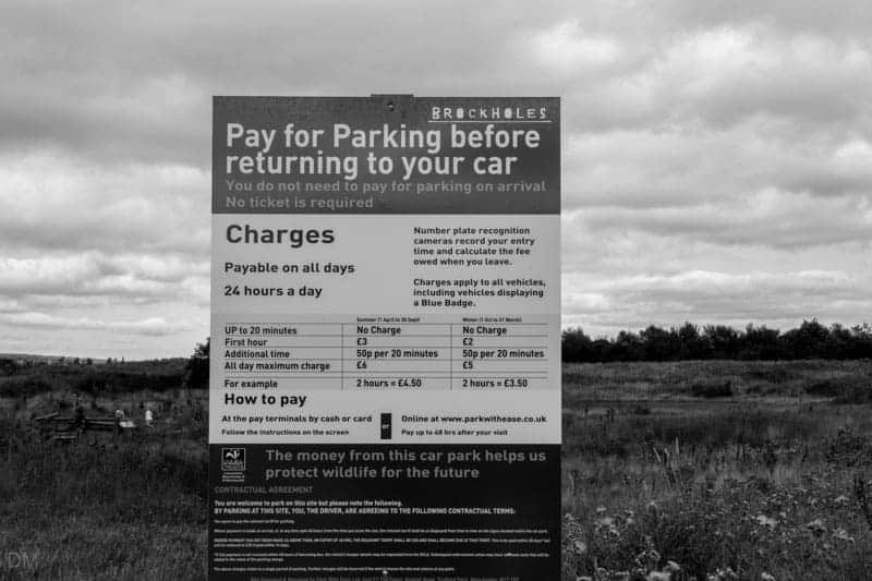Parking charges notice at Brockholes nature reserve