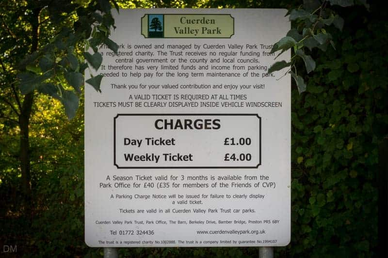 Car parking charges at Cuerden Valley Park
