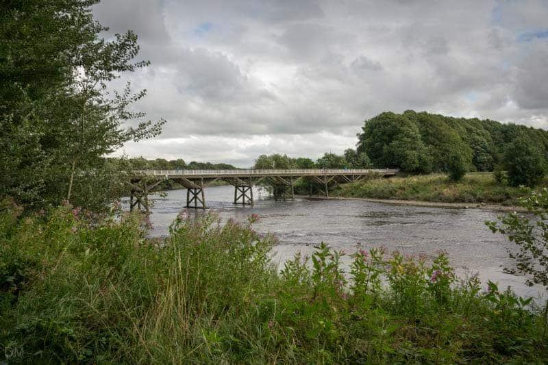 Old Tram Bridge over River Ribble at Avenham Park in Preston.