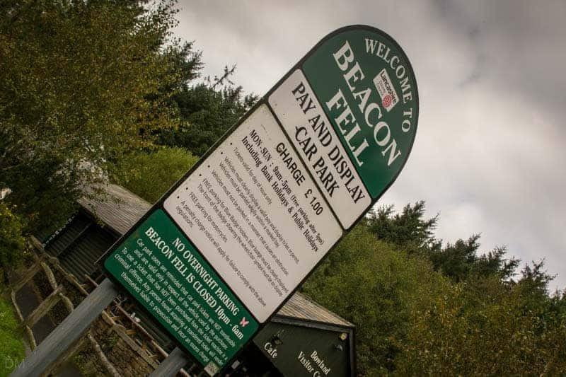 Parking fees at pay-and-display car park at Beacon Fell Country Park.