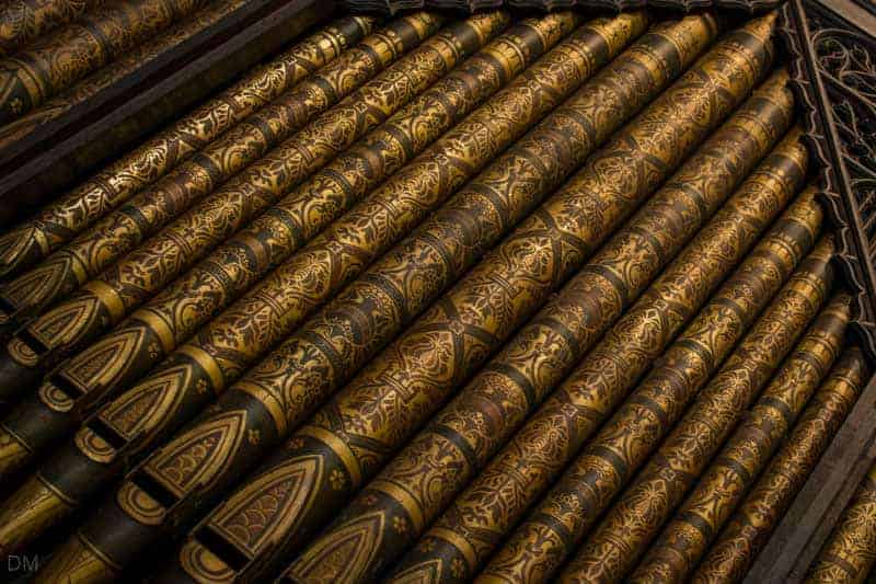 Organ pipes in the chancel at Lancaster Priory.