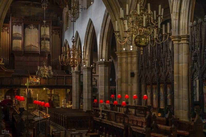 Gallery Organ, Chandeliers, Chancel, and Choir Stalls at Lancaster Priory