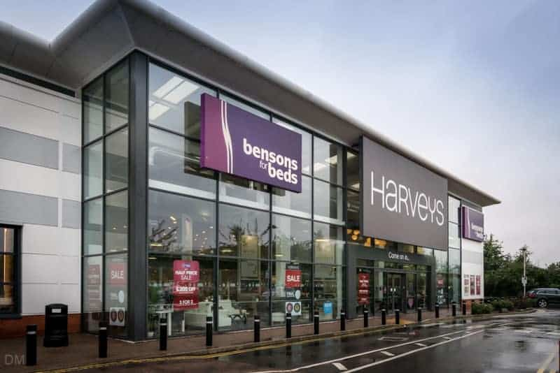 Harveys and Bensons for Beds stores at Castlemore Retail Park in Manchester