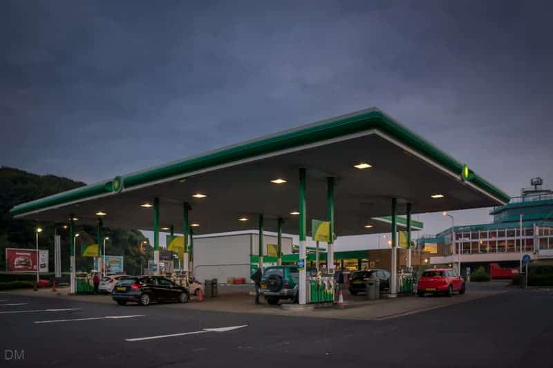 BP filling or petrol station at Moto Lancaster Services on the M6 motorway