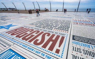 Slab at the Comedy Carpet in Blackpool featuring the phrases of Morecambe and Wise