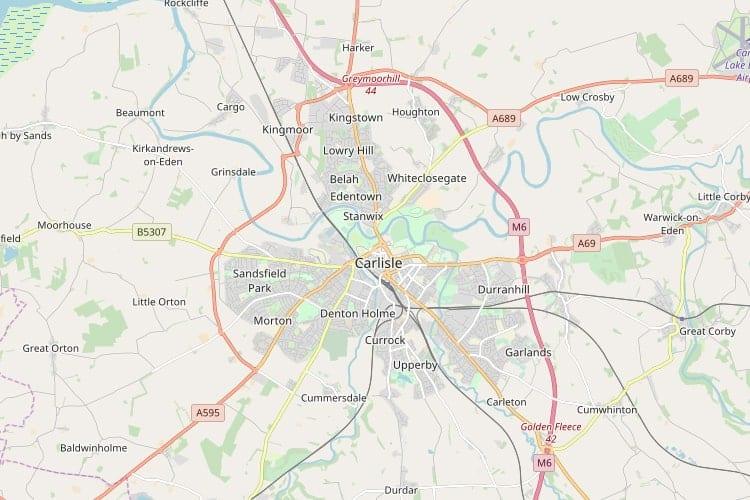 Map Of Carlisle Carlisle Map   Interactive Street Map Of Carlisle, Cumbria