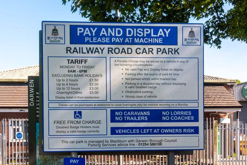 Parking charges at Railway Road Car Park, Darwen Train Station - 2020