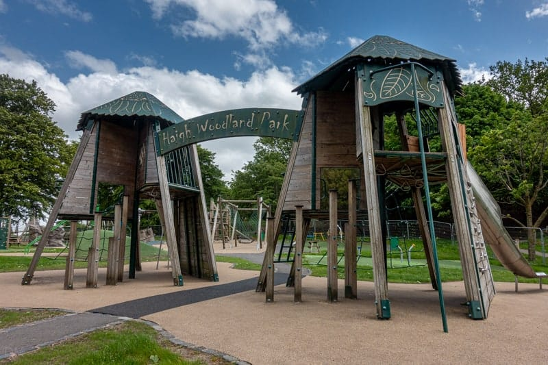 Entrance to adventure playground at Haigh Woodland Park