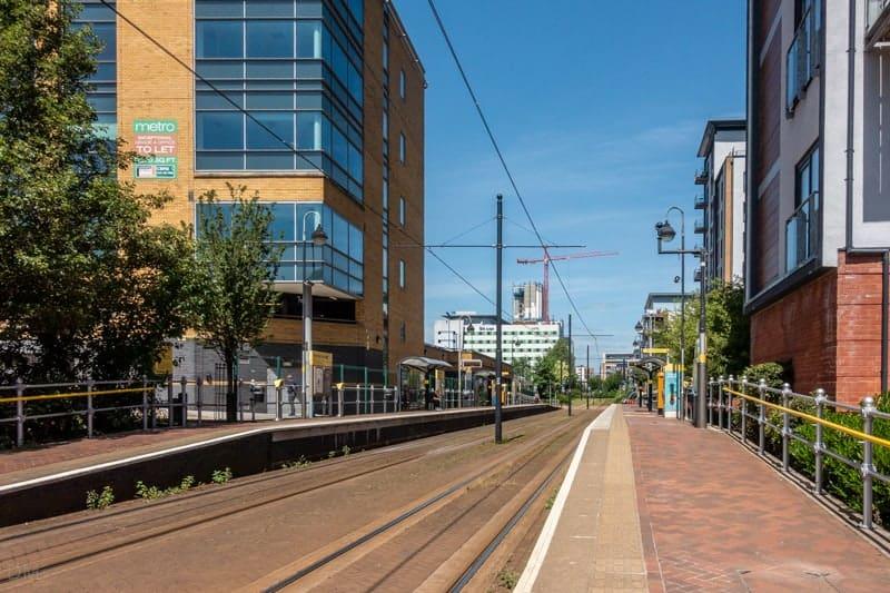 Platforms at Exchange Quay Metrolink Tram Stop