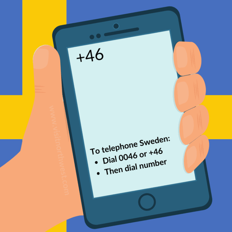 Sweden Country Code +46 0046