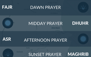 Islamic prayer times for Aberdeen, Scotland. Maghrib, salah, namaz, asr, fajr, isha times.
