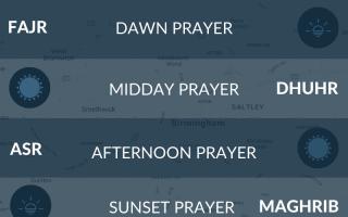 slamic prayer times for Birmingham today. Fajr time today. Namaz, salah, maghrib, isha, asr times.