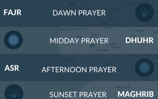 Muslim prayer times Blackpool - salah, namaz, maghrib, asr, fajr times.