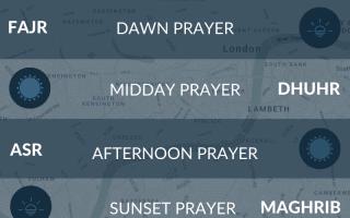 Prayer times for London. Namaz, fajr, maghrib, salah, salat times for Central London.