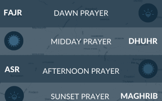 Muslim prayer times (salah times) for Derby, Derbyshire, UK.