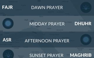 Muslim prayer times Hull, Yorkshire, UK. Fajr, maghrib, salah, asr, namaz times.