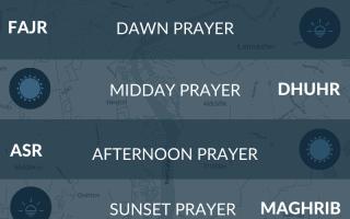 Muslim prayer times Lancaster, UK. Maghrib, namaz, salah times.