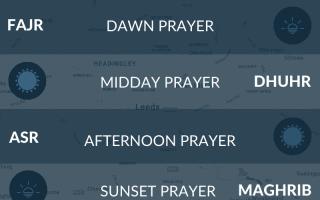 Muslim prayer times (salah times) for Leeds, West Yorkshire, UK.