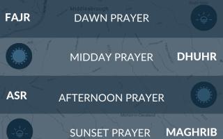 Islamic prayer times for Middlesborough, UK. Namaz, salah, isha, maghrib, fajr times.