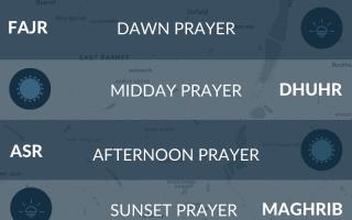 North London prayer times. Fajr, maghrib, salah times.