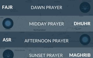 Muslim prayer times for Northampton, UK. Salah, fajr, salat, maghrib, isha, asr times.