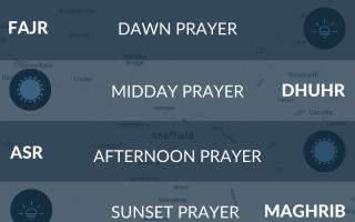 Muslim prayer times (salah) for Sheffield, South Yorkshire, UK. Fajr, namaz, asr times.