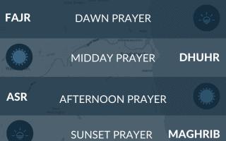 Muslim prayer times for Sunderland, UK. Namaz, fajr, maghrib, salah times.