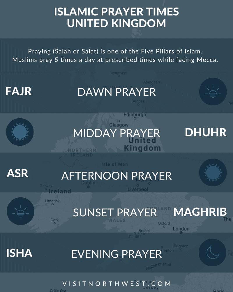 Islamic prayer times United Kingdom (UK). Salah, salat, fajr, asr, namaz, maghrib times for UK.