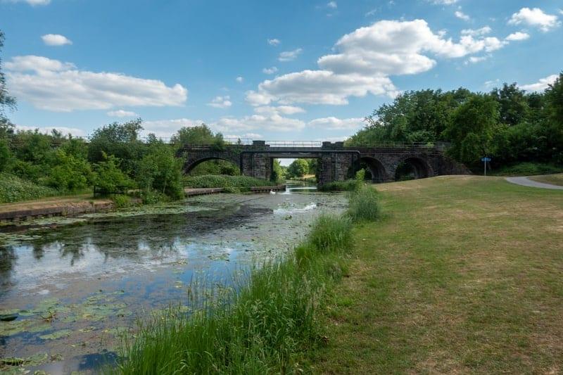 Railway bridge in Sankey Valley Park, Warrington