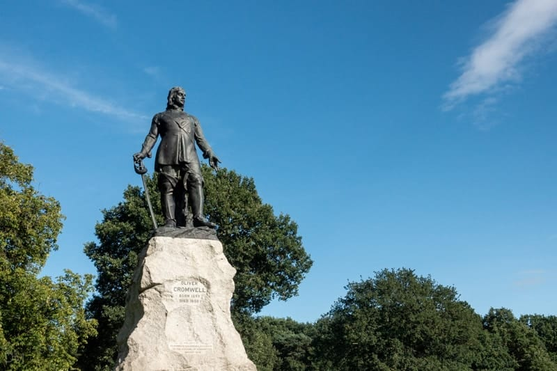 Statue of Oliver Cromwell at Wythenshawe Park, Manchester