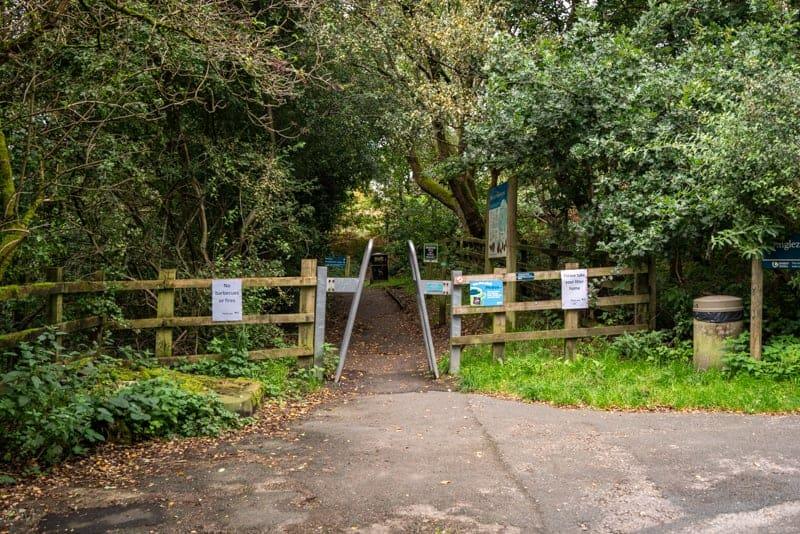 Gate into woods at Anglezarke car park