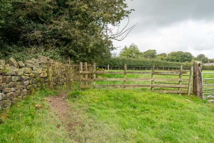 Kissing gate in a field at Hurst Green, Lancashire