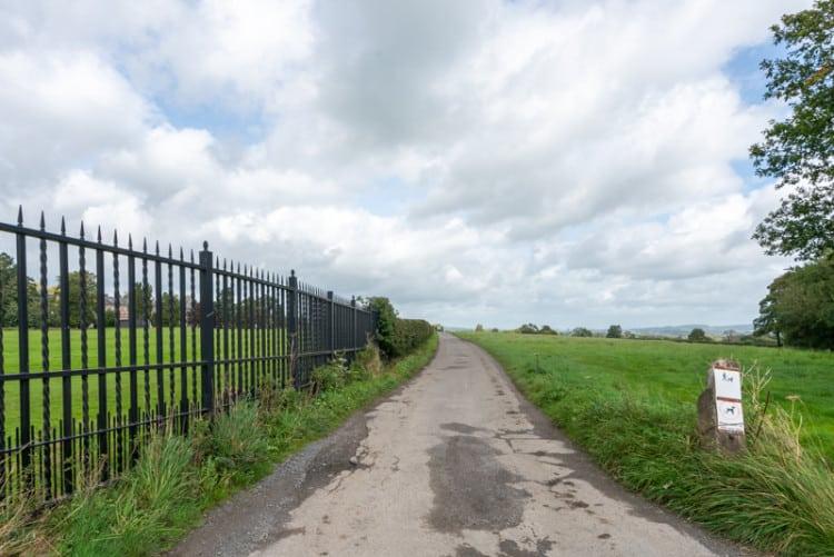 Road by side of sports fields