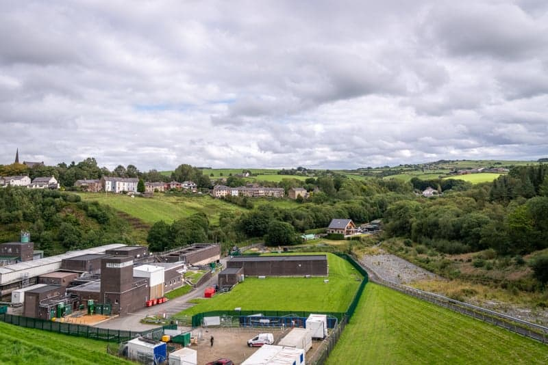 View of Edgworth, Wayoh Water Treatment Works and overflow channel