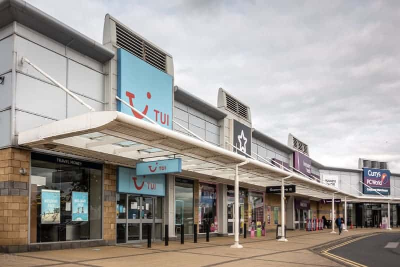 TUI, Superdrug, Bensons for Beds, and Currys PC World, Robin Park, Wigan