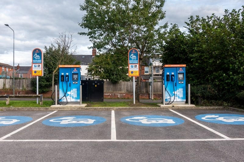 Electric vehicle charging points at Parsonage Retail Park in Leigh.