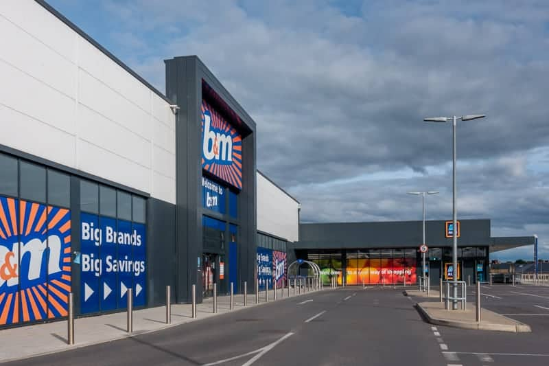 B&M and Aldi, Leigh, Greater Manchester