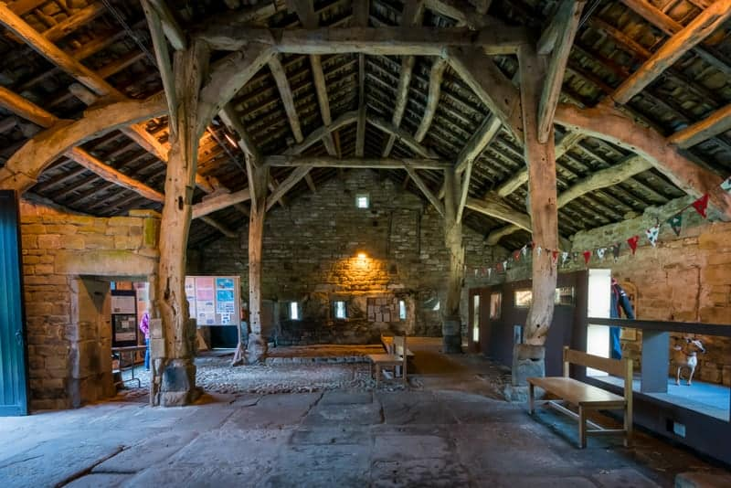 Interior of Aisled Barn Visitor Centre, 17th century barn at Wycoller Country Park