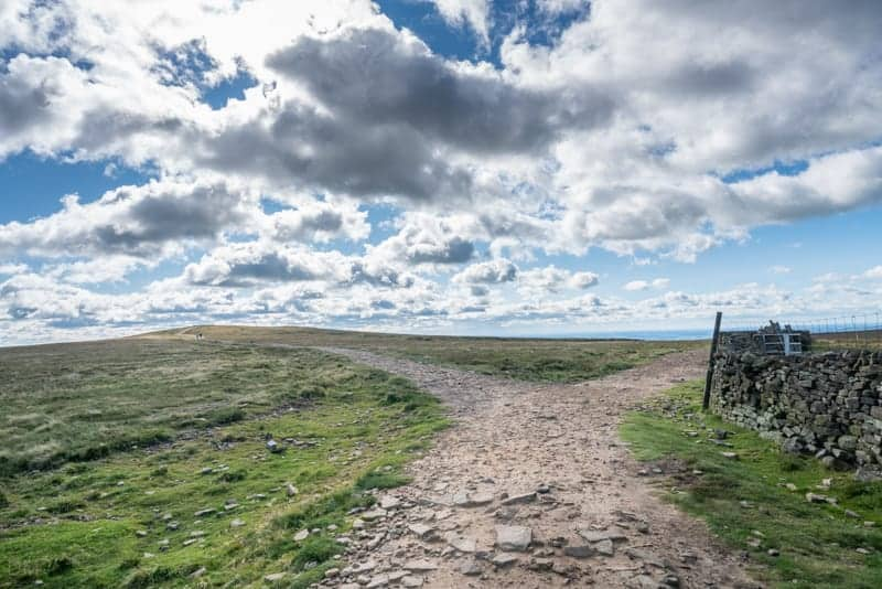 Path to left for top of Pendle Hill, path to right for shelter