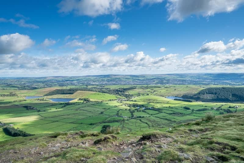 View from Pendle Hill triangulation pillar