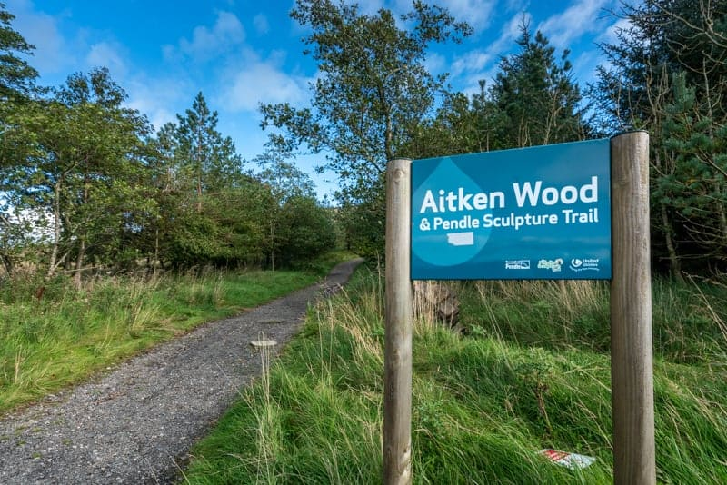Sign at entrance to Aitken Wood and Pendle Sculpture Trail