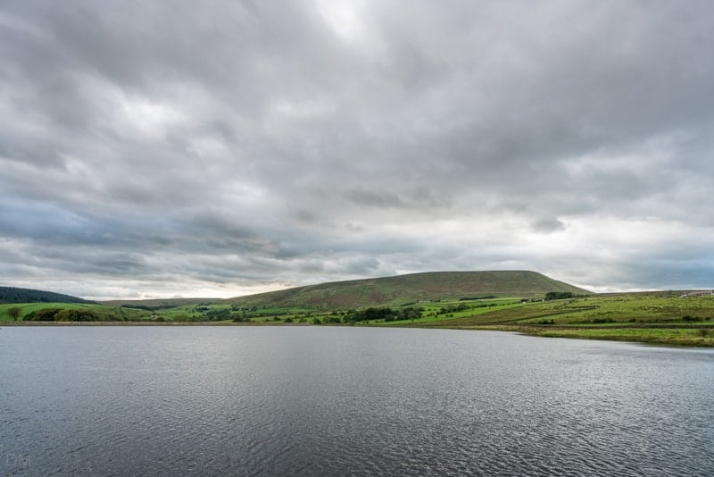 View of Lower Black Moss Reservoir and Pendle Hill
