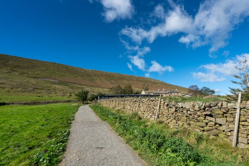 Path and stone wall near Pendle Hill