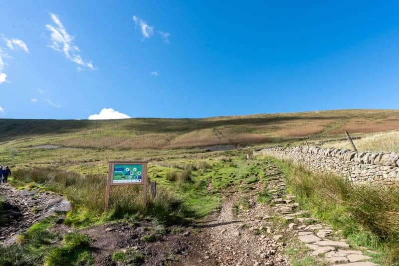Tracks at base of Pendle Hill - Left for 'slope', right for 'steps'