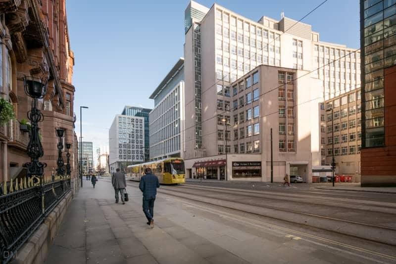 Metrolink tram on Lower Mosley Street