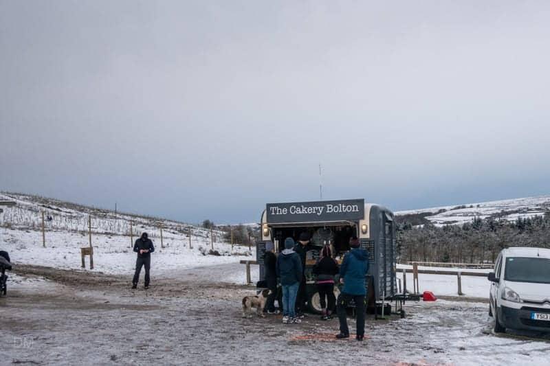 Van selling hot drinks and snacks at Walker Fold Car Park, Bolton
