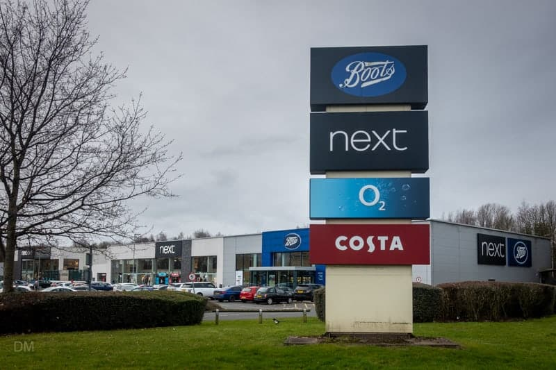 Car park for Boots, Next, and Costa, Warrington