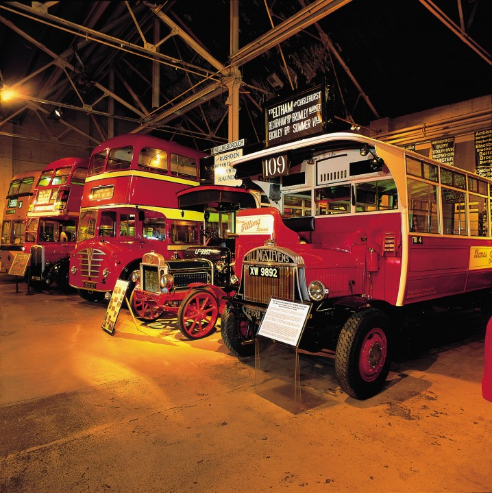 Vintage buses and fire engines in the British Commercial Vehicle Museum in Leyland, near Preston